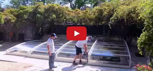 Installation d'un abri piscine en video